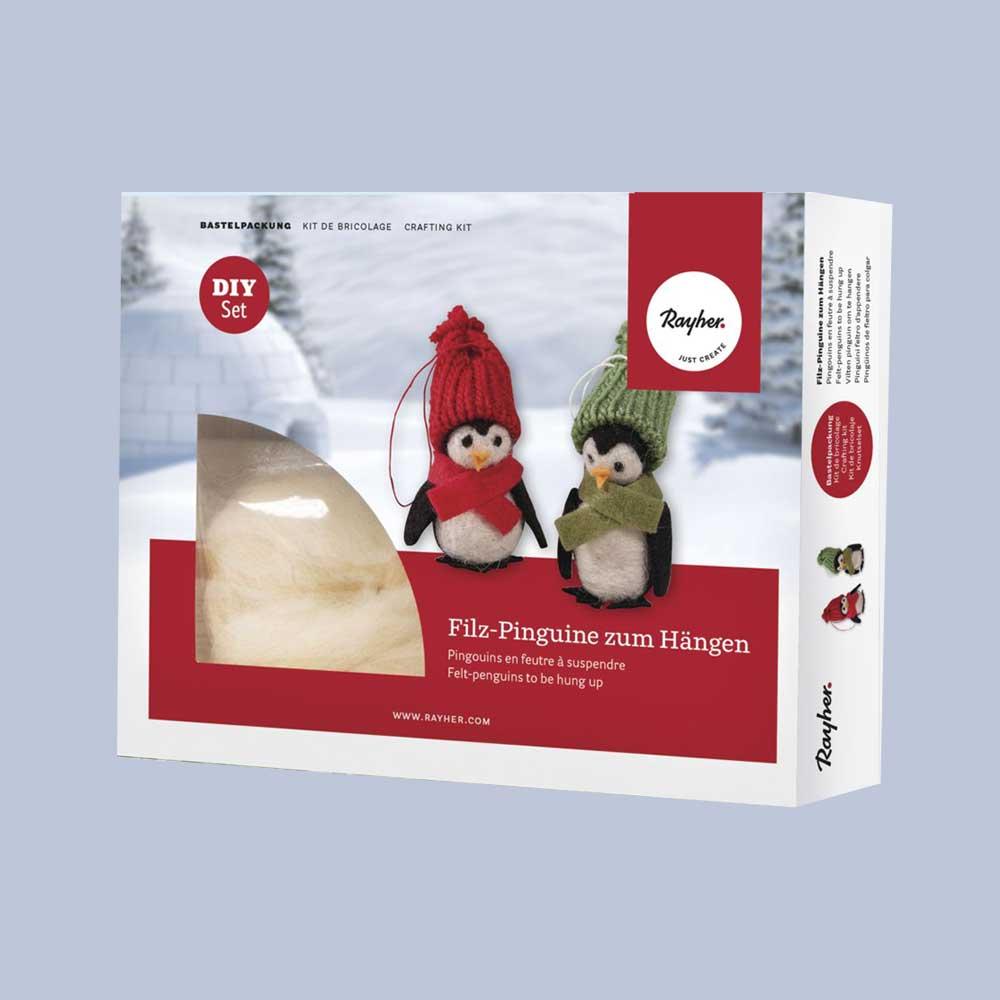 RAYHER Bastelpackung: Filz-Pinguine zum Hängen